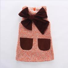 2017 Hot Sale Girls Knitted Dress Autumn Bow High Quality Girls Vest Dresses H580