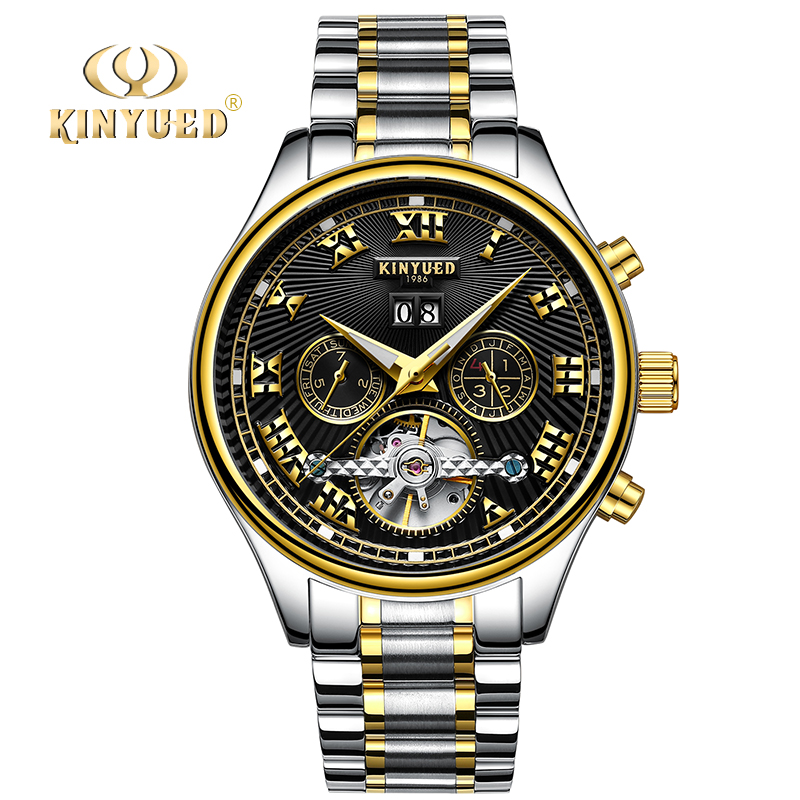 KINYUED Business Automatic Mens Wrist Watches Brand Luxury Stainless Steel Tourbillon Men Mechanical Watch relojes masculion 2017 new jsdun luxury brand automatic mechanical watch ladies rose gold watches stainless steel ladies tourbillon wrist watch