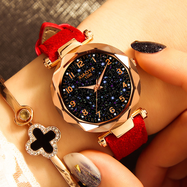 Fashion Women Watches 2019 Best Sell Star Sky Dial Clock  3