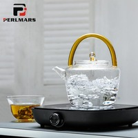 900ml Heat Resistant High Borosilicate Glass Teapot Electric Ceramic Heater Kettle Lemon Fruit Flower Tea Pot Office Drinkware