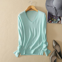 Kashana Apparel 2017 New Pure Cashmere Fashion Sweaters V-neck Solid Color Long Sleeve Spring/autumn Women's Green Sweater