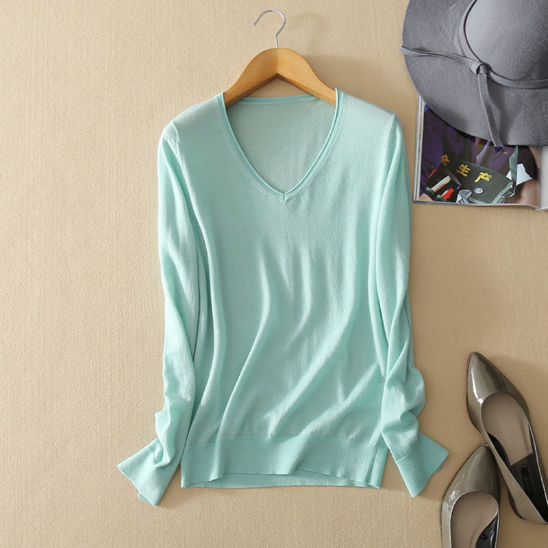 V-neck Thin Knitted Tops 2018 New 100% Pure Cashmere Knit Solid Color Women Sweaters And Pullovers Ladies Spring Sweters Jumper women s sweater pullover 100% genuine goat cashmere women sweaters and pullovers knit round neck long sleeves thick sweaters
