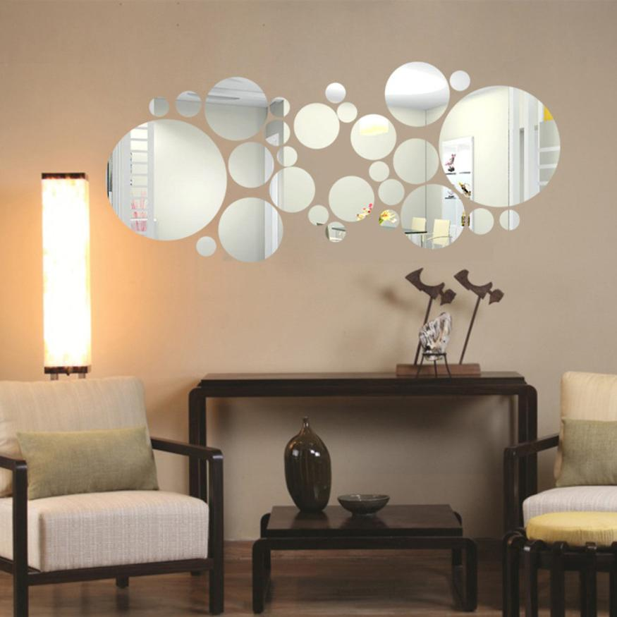 Home Decor Round Acrylic Mirror Background Wall Sticker ...