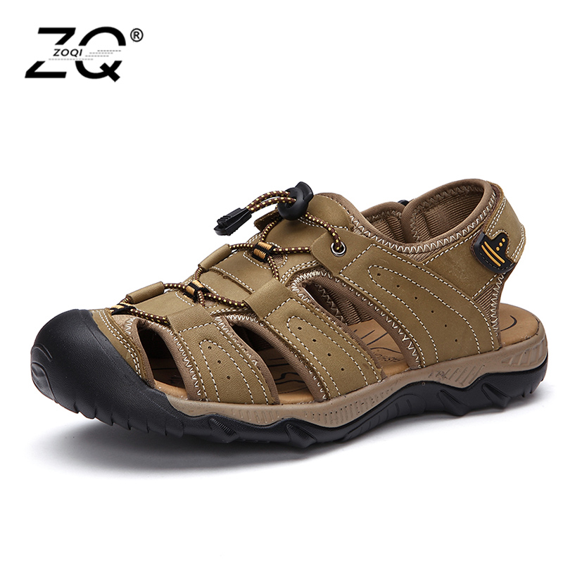 ZOQI Brand Genuine Leather Shoes Summer New Large Size Mens Sandals Men Sandals Fashion Sandals And Slippers Big Size 38-45