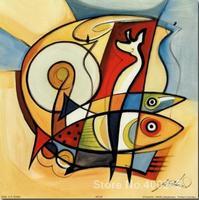 Muur art collection Zon Vis II olie op Canvas Hoge kwaliteit handgeschilderde