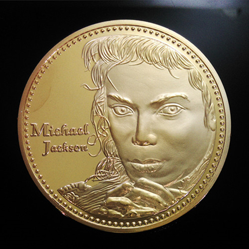 10 pcs The Michael Jackson Grammy winner badge rock song singer musician 24k real gold plated American souvenir decoration coin image