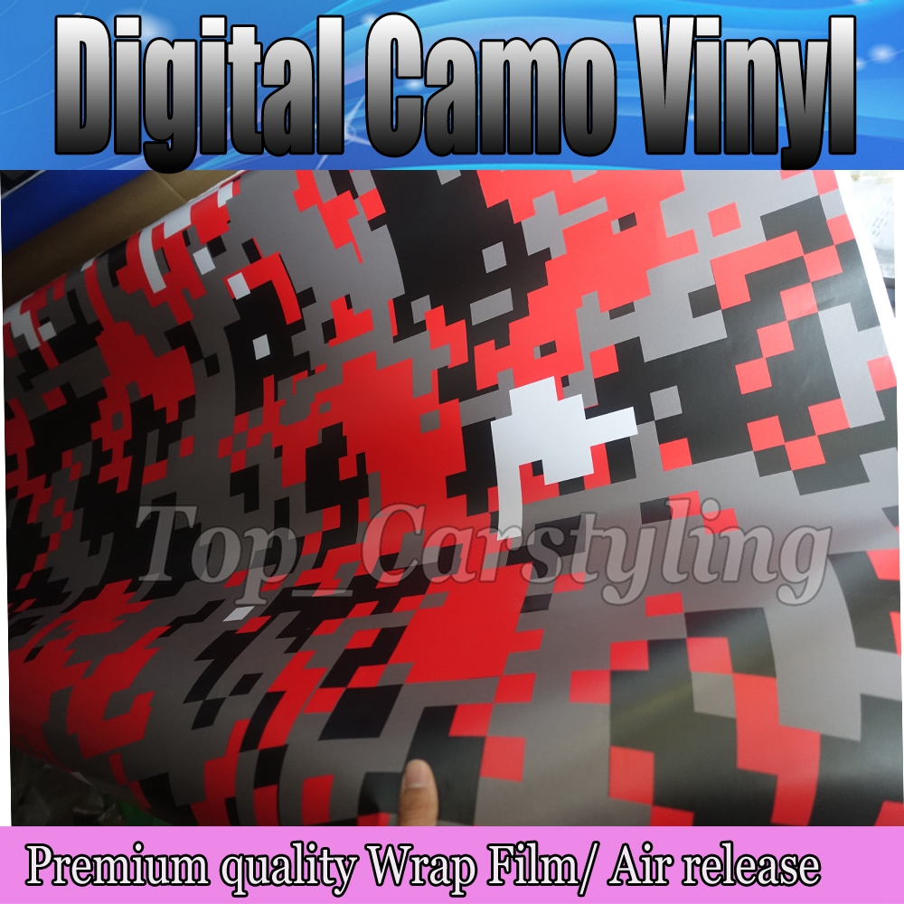 1.52x10m/roll Digital Camo Car Vinyl Wrap Red Black White Urban Sticker Bomb Camouflage Printed Graphics Pvc Material Roll Sheet Bringing More Convenience To The People In Their Daily Life