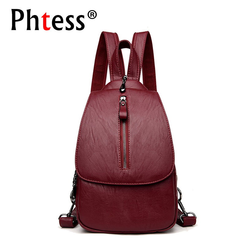 купить 2018 Brand Women Leaher Backpacks For Girls Sac a Dos Femme Vintage Backpack Female Travel Shoulder Bag Ladies Bagpack Mochilas по цене 1502.78 рублей