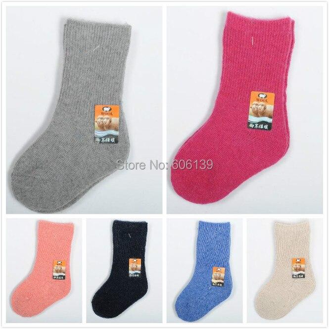 ₩6 color 3-5 años niños niñas lana calcetines bebé niños calcetines ...