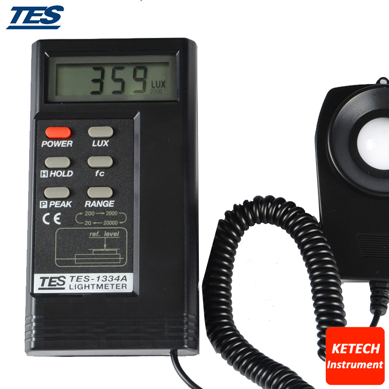 TES1334A Digital LUX Light Meter 20/200/2000/20000 Lux brand new professional digital lux meter digital light meter lx1010b 100000 lux original retail package free shipping