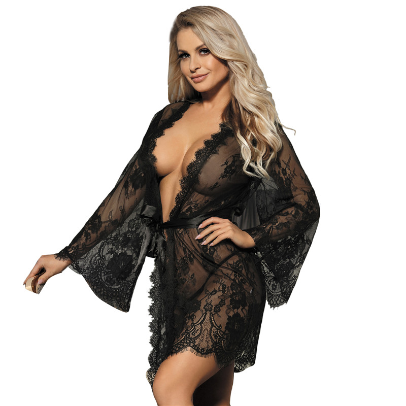 Babydoll Lingerie Mesh Transparent Sexy Lingerie With Belt Big Size 5XL Baby Dolls Women Erotic Clothing Lace Kimono Robe R80528