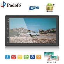 Podofo Android Bluetooth автомобильный Радио 7 »2 Din Сенсорный экран WI-FI gps MP5 мультимедийный плеер FM AM стерео сзади Камера Авторадио