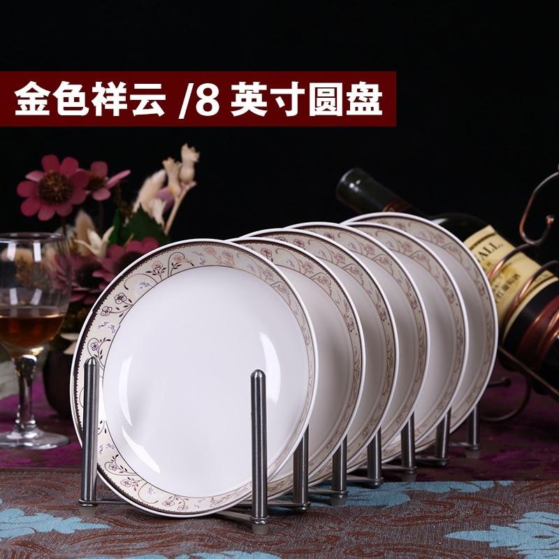 6pcs/<font><b>set</b></font> American Dining Room Ceramic Tableware Jingdezhen Bone China Porcelain Dinnerware 8*inch Deep Soup Dishes Sushi Plates