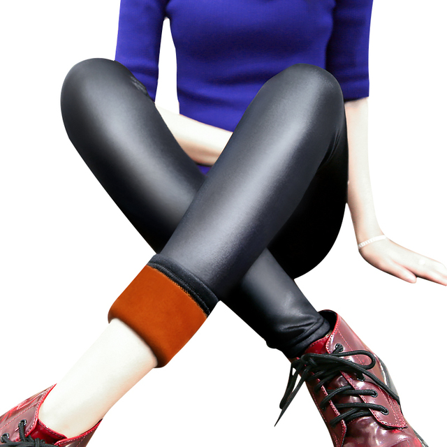 Donna Winter Women Black Faux Leather Warm Leggings Skinny Stretch Fleece Inside High Elastic Ankle-Length Leggin Pants D371Z