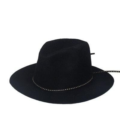 Шерсть для женщин и мужчин Осенняя зимняя фетровая шляпа фетровая Панамка Дерби мягкая фетровая шляпа Головной убор широкополый - Цвет: Black