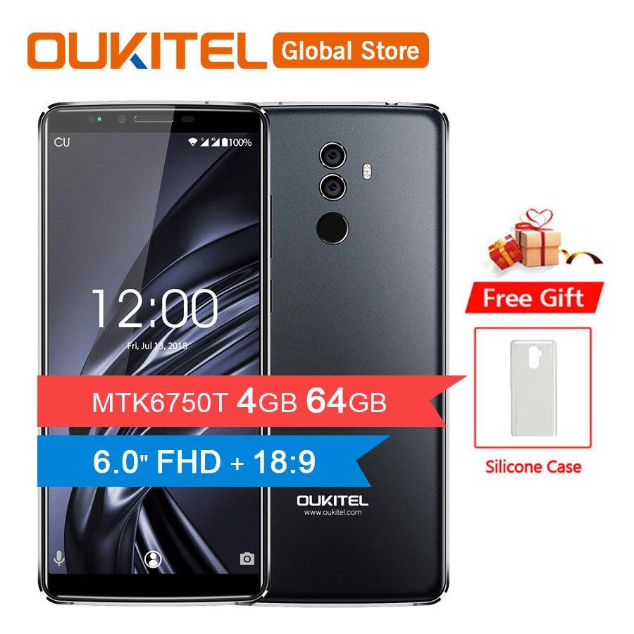 "OUKITEL K8 18:9 Full Display 6.0""FHD 4GB RAM 64GB ROM MT6750T Octa Core 13MP+5MP Fingerprint Face ID 5000mAh 5V/2A Mobile Phone"