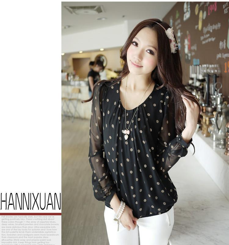 New S-XXL White Navy Women Shirt Polka Dots Chiffon Vintage Blouse ...
