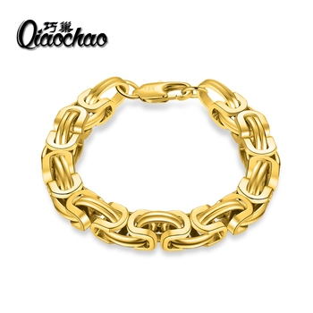 Gold Plate Bracelet Byzantine Link Chain Stainless steel 22CM*9MM Mens Bracelets For Women Pulseira Masculina Wholesale S236