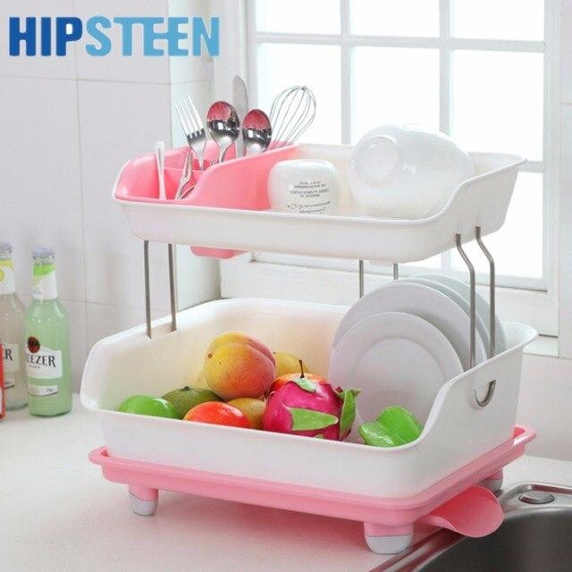 Hips Fashionable Double Deck Plastic Kitchen Cupboard Chopsticks Tableware Storage Box Multi Layer Drain