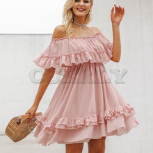 Cuerly Elegant ruffle off shoulder women dress Spaghetti strap chiffon summer dresses Casual holiday female pink short sundress