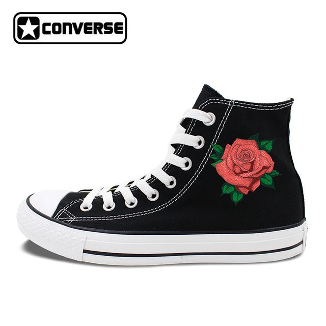 Womens Gifts Original Converse All Star Skateboarding Shoes Design Red Rose  Flower White Black Canvas Sneakers