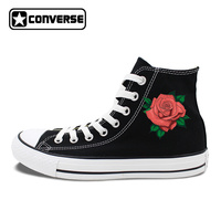 Womens Quà Tặng Original Chuyện Tất Cả Các Sao Skateboarding Giày Dép Thiết Kế Red Rose Flower Trắng Vải Màu Đen Sneakers Cao Tops JH07