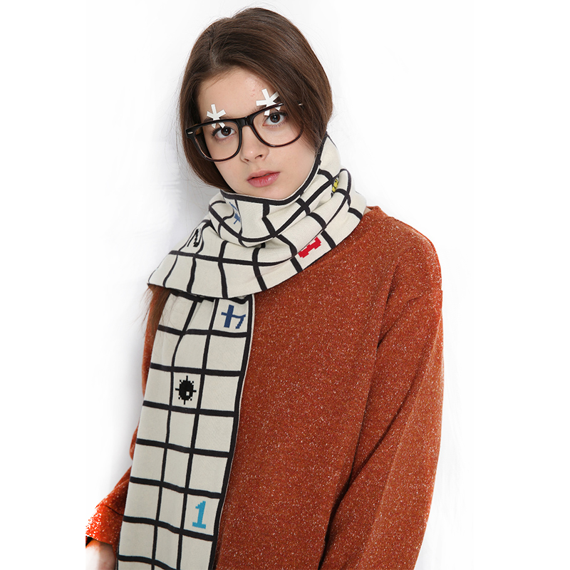 New Winter Warm Scarf Women Men Playful Games Minesweeper Jacquard Long Shawls Thicken High Quality Two