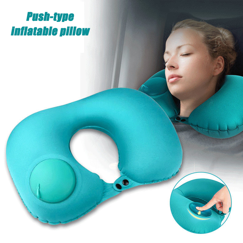 Flocking press automatic inflatable pillow travel U-shaped neck car flight