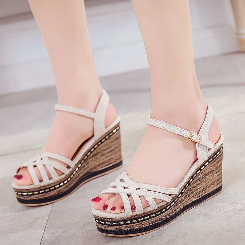COOTELILI Summer Shoes Women Gladiator Sandals High Heels Platforms Wedge Sandals Woman Causal Women Shoes Buckle