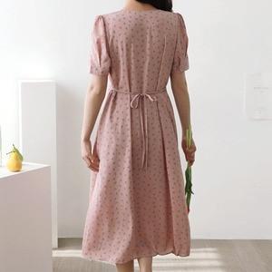 Image 4 - קיץ שיפון שמלות אישה פרחוני חג תאריך חמוד קוריאני יפן סגנון בגדי עיצוב קו קשת עניבת חולצה שמלת ארוך ורוד 603