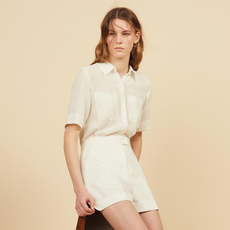 2019 New Women Double Pocket White Playsuit Short Sleeve Turn Down Collar Strip Short Jumpsuit