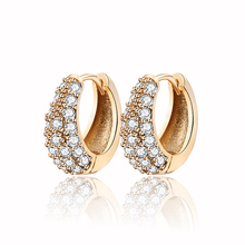 Золото-Цвет CC обруч серьги Huggie для Для женщин Bijoux(украшения своими руками) Brinco Cz кубический цирконий ювелирные изделия 33E18K-54