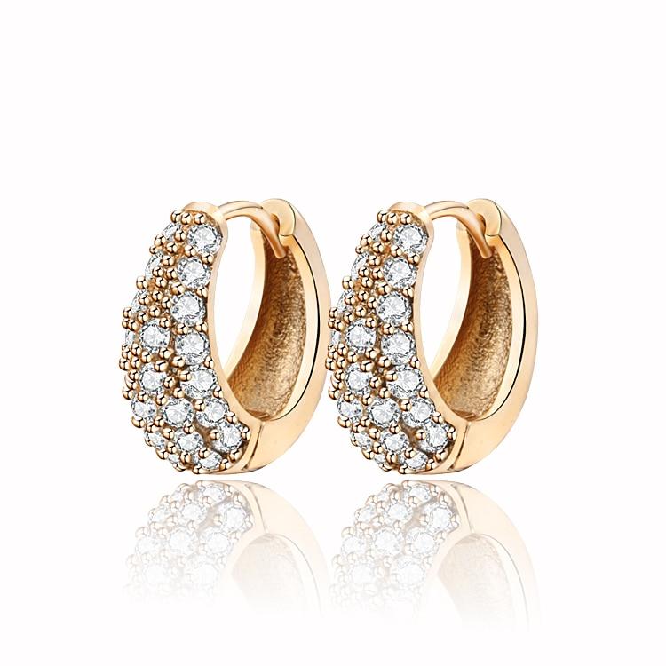 Guldfärg CC Hoop Huggie Örhängen För Kvinnor Bijoux Brinco Cz Cubic Zirconia Smycken Mode Gratis frakt 33E18K-54