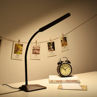 Wood Grain Reading LED Desk Lamp 8W Flexible Table Lamp Memory Function Touch Sensitive 5 Dimming Levels&5 Color Temperatures
