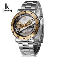 IKcolouring marca de luxo relógios de aço impermeável casual esqueleto masculino relógios automático relogio de homens mecânicos relogio