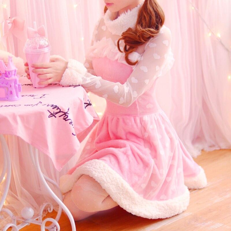 Принцесса сладкий платье в стиле «Лолита» осень сладкий японский принцессы Breeze милые плюшевые бархатные шить кружева с длинным Платье с ру...