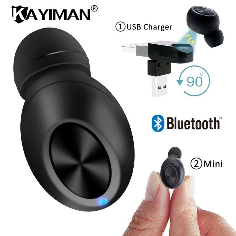 Mini Wireless Bluetooth Earphone Music Handsfree Headphone headset earbuds In-ear USB earpiece hidden invisible for phone