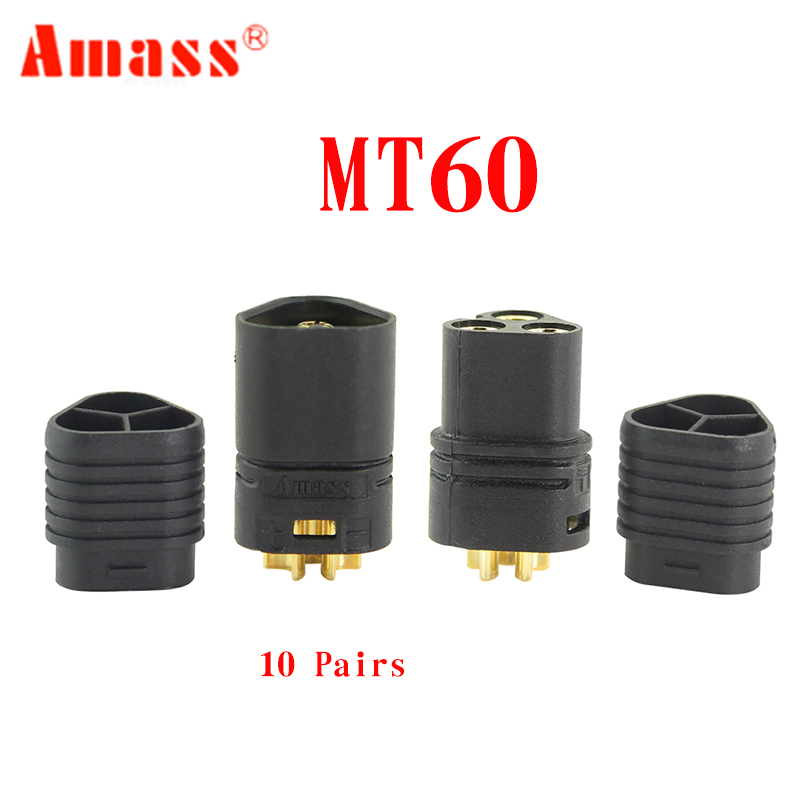 10 Pair Amass MT60 <font><b>3.5mm</b></font> 3 Pole <font><b>Bullet</b></font> Connector <font><b>Plug</b></font> Male & Female For RC ESC to Motor image