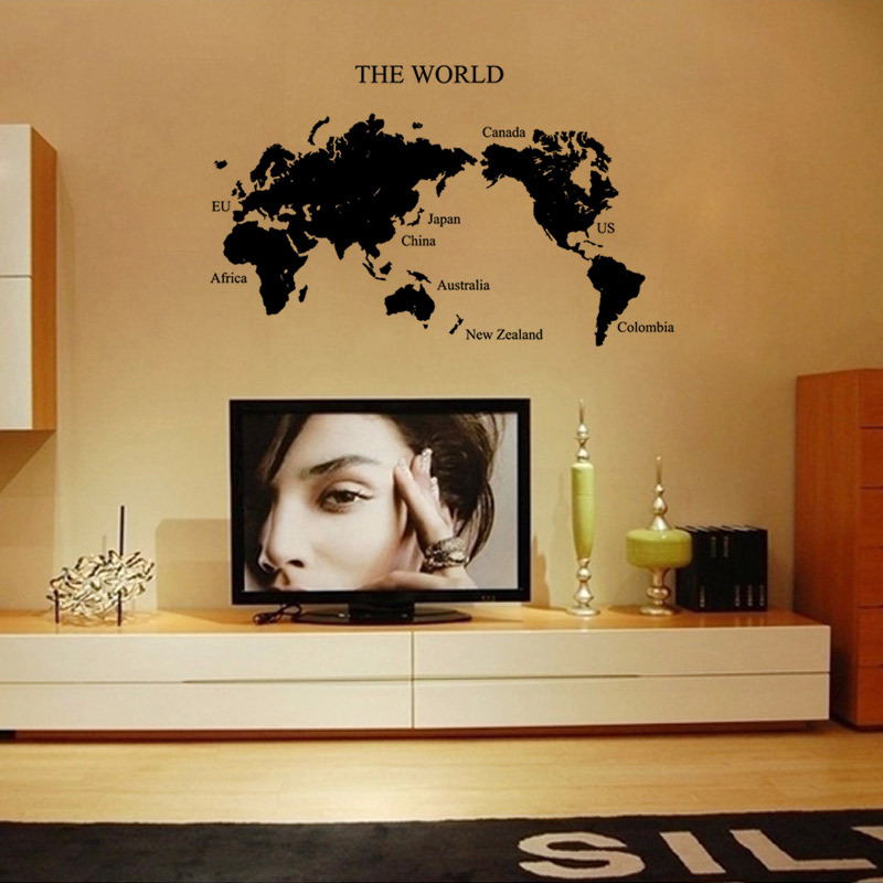 large black world map wall stickers mural removing wallpaper stencil adult men home livingroom. Black Bedroom Furniture Sets. Home Design Ideas