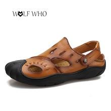 f32724f6602d Shoes Men Sandals Genuine Leather Summer Sandals Waterproof Beach Slippers  Flip Flops Casual Sneakers Outdoor sandalias