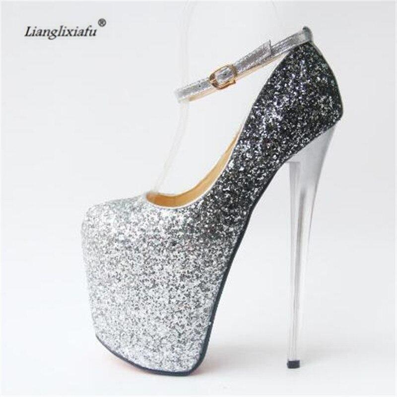 Donna Pompe 20 sliver Zapatos Tacco argento Spillo 43 Più 34 Fibbia Llxf Scarpe Cm 41 Oro 42 Oro Alto Crossdresser Femminile Sexy A Paillette qv1nn8ax7