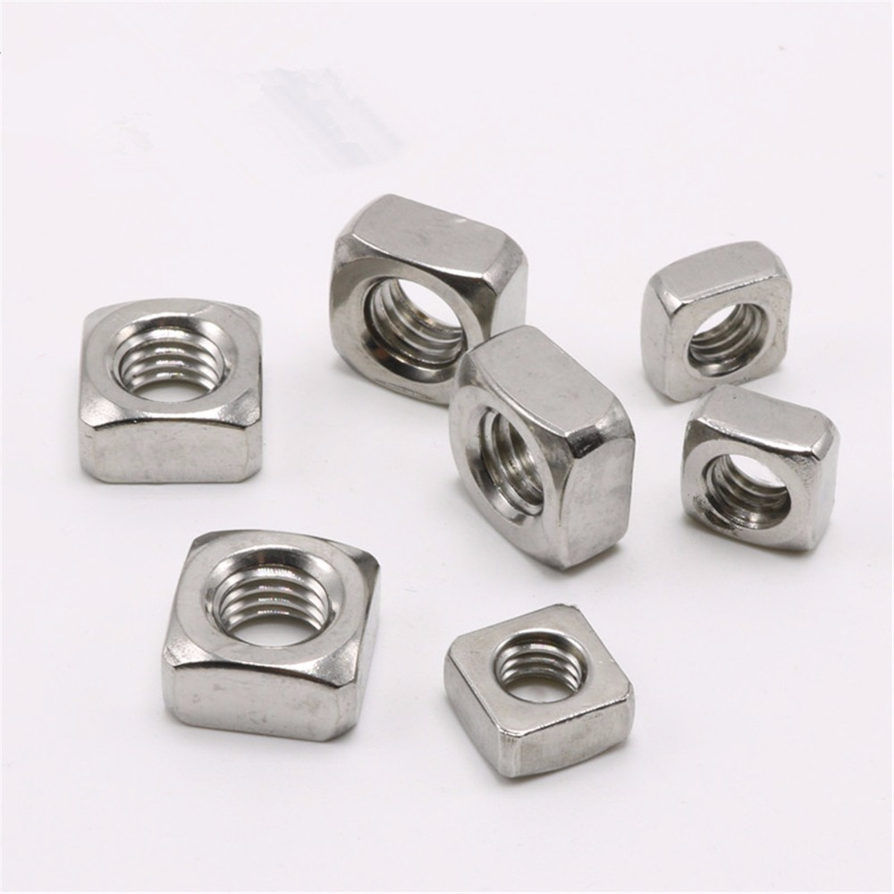 100pcs M3 M4 M5 M6 Stainless Steel Square Nut Screw Nut Fastener 10pcs m3 round aluminum alloy long nut studs standoffs fastener 8 10 15 20 25 30 35mm