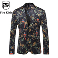 Fire Kirin Blazer Men 2017 Slim Fit Mens Floral Blazer Bird Pattern Fashion Printed Black Velvet Jacket Male Stage Wear Q207