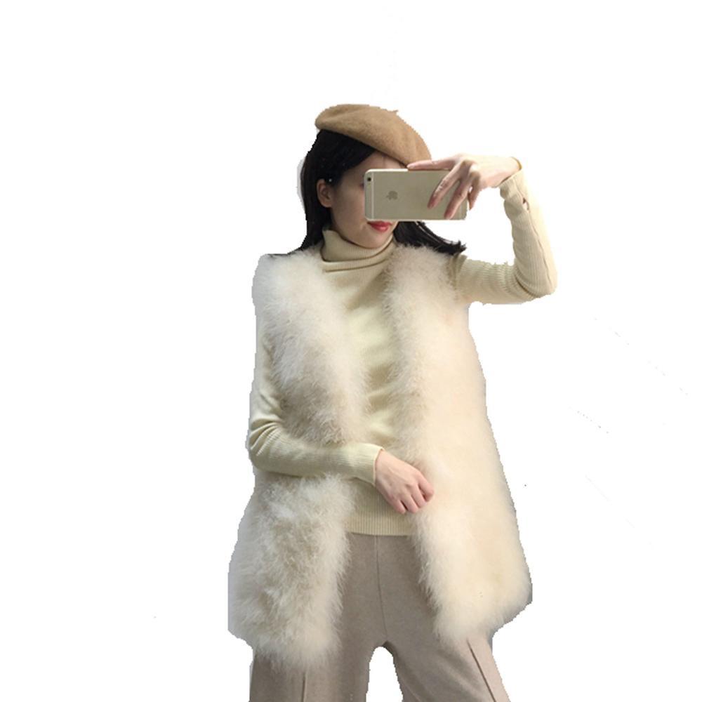 Chaud Mode De Plume Long Beige marine Réel D'hiver Bleu Femmes D'autruche Fourrure lavande Gilet Véritable veste gAHqPPxF