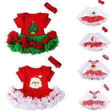 Рождественское платье в горошек с оборками для малышей милое платье для новорожденных девочек праздничный костюм с повязкой на голову Рождественская одежда