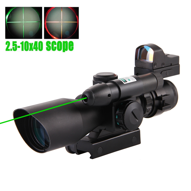 2.5-10x40 Tactical Rifle Scope Green Laser illuminated Rail Mount Airsoft Riflescope Sight+Holographic Dot Refle Sight Light hot sale 2 5 10x40 riflescope illuminated tactical riflescope with red laser scope hunting scope