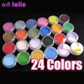 Marca Hot 24 Cores Acrílico Pó Nail Art Tips Manicure 3D Líquido Glitter Decorações