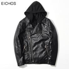 EICHOS New Fashion Motorcycle Jacket Men Black Hooded Detachable Mens Faux Sheepskin Coats Slim Winter Jackets Men PY0906