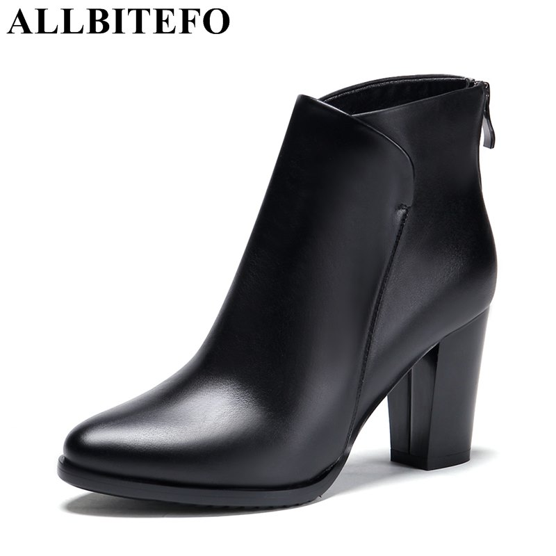 ALLBITEFO thick heel genuine leather women boots fashion winter high heels platform ankle boots girls motorcycle