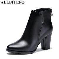ALLBITEFO genuínas mulheres botas de couro marca de moda do salto grosso sapatos de salto alto plataforma botas sapatos das senhoras das mulheres tornozelo bota de neve